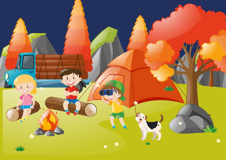 Many children camping out in the forest illustration