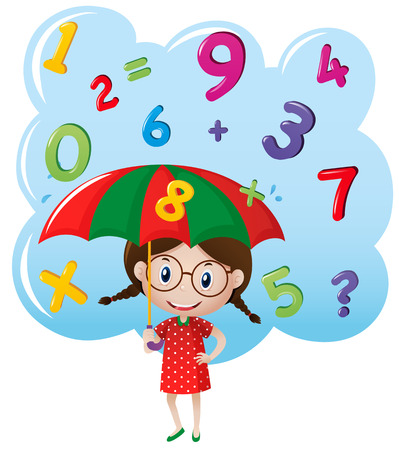 numbers clipart: Little girl with number rain illustration