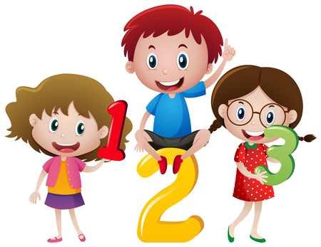 Three children and numbers illustration