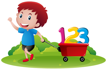 Little boy pulling wagon with numbers illustration
