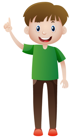 man pointing: Happy man pointing finger up illustration