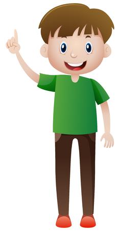 Happy man pointing finger up illustration