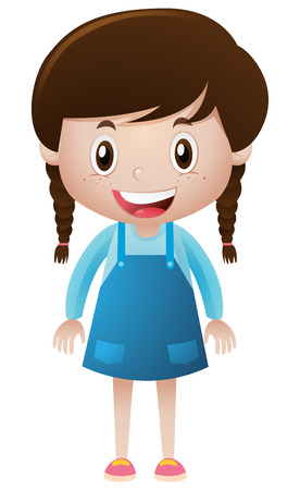 blue overall: Happy girl in blue overall illustration