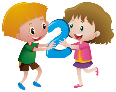 Boy and girl holding number two illustration
