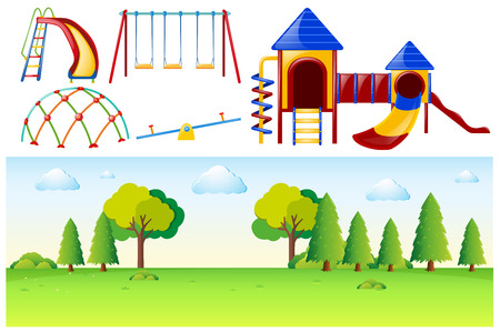 Park scene with many play stations illustration Illustration