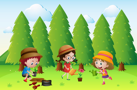 Three kids planting and watering the flowers illustration Illustration