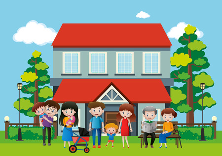 House with many people in the family illustration