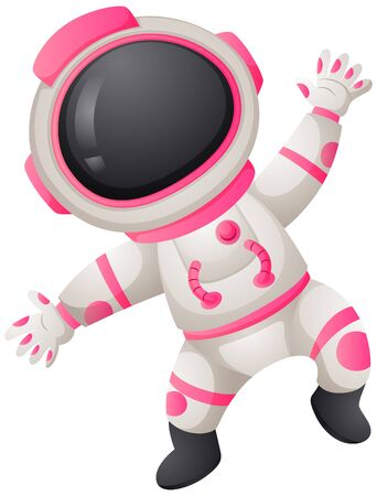 spacesuit: Astronaunt in white and pink spacesuit illustration Illustration