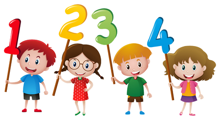 Kids holding numbers on the stick illustration