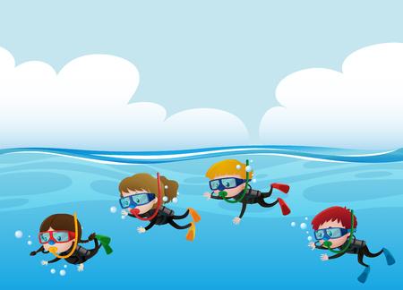 Four kids scuba diving under the ocean illustration