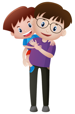 piggyback ride: Father and son with happy face illustration