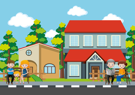 People sitting in front of the house illustration