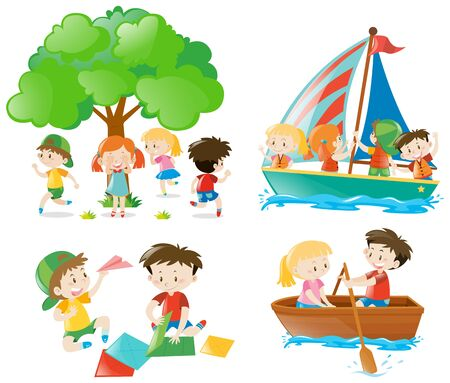 Many children playing and doing different activities illustration