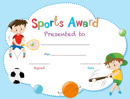 Certificate template with two boys playing sports illustration