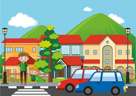 Man and boy crossing road in city illustration