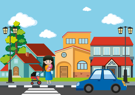 Mother and baby crossing road in the city illustration