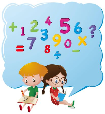 Two kids counting numbers illustration