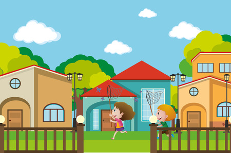 arquitecto caricatura: Two boys catching butterflies in the neighborhood illustration