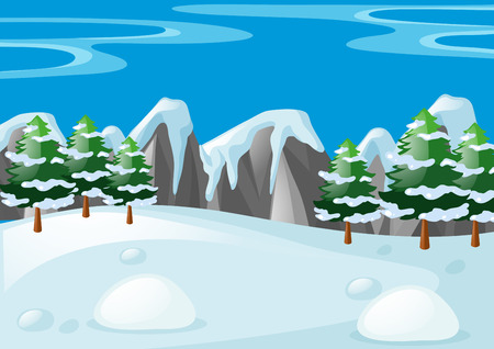 Scene with snow on the ground illustration