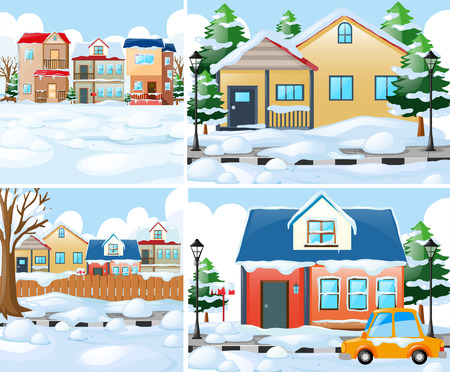 Neighborhood scnes with houses in winter illustration Çizim