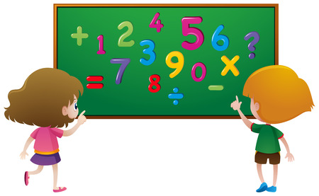 countable: Two students counting numbers on board illustration