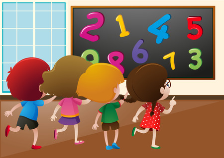 countable: Students counting numbers on the board in class illustration
