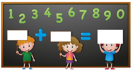 countable: Kids and numbers on blackboard  illustration