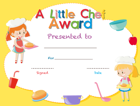 Certificate Template With Kids Cooking Illustration Royalty Free ...