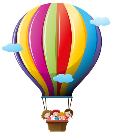 Children riding on colorful balloon illustration