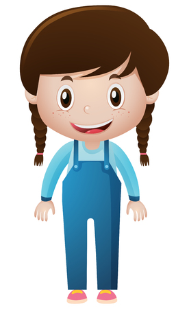Little girl in blue overall  illustration Illustration