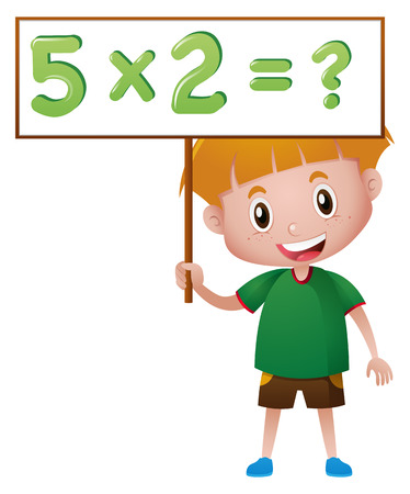 countable: Boy holding board with math queation illustration Illustration
