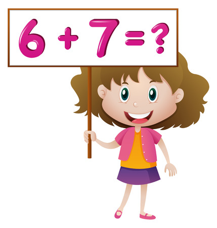 countable: Girl holding board with math problem illustration Illustration