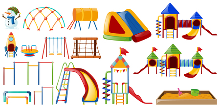 Different stations at playground illustration