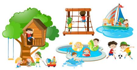 Children having fun doing different activities illustration Illustration
