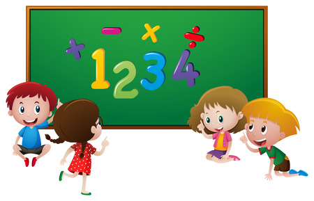 countable: Numbers and kids at school illustration