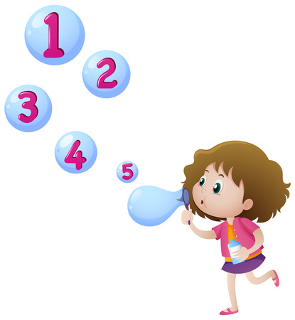 countable: Girl blowing bubbles with numbers illustration