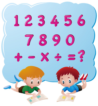 Two boys and different numbers illustration