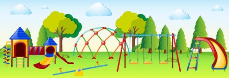 Playground scene with play stations illustration