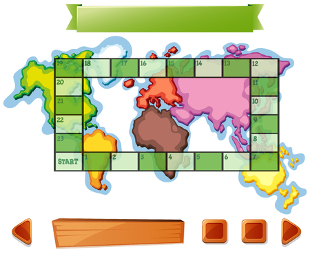 numbers clipart: Boardgame template with worldmap background illustration Illustration