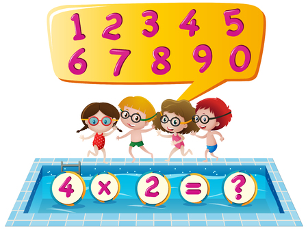 Kids at swimming pool counting numbers illustration Illustration