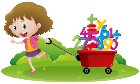 Girl pulling wagon full of numbers illustration Illustration