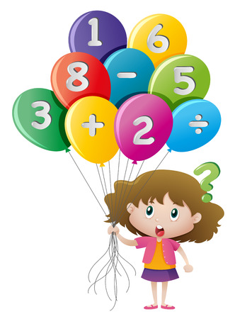 Little girl and balloons with numbers illustration Illustration