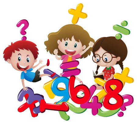 countable: Kids and many numbers illustration