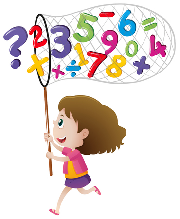 countable: Girl catching numbers with net illustration