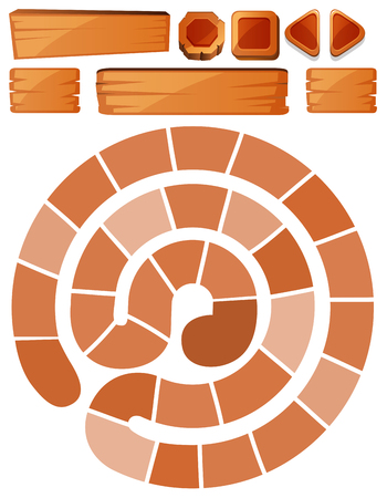 Game template with spiral and wooden signs illustration