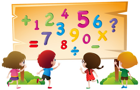 Kids and numbers on wooden board illustration Illustration