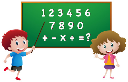 countable: Students counting numbers on blackboard illustration