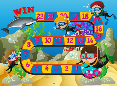 Boardgame template with kids swimming under the ocean illustration