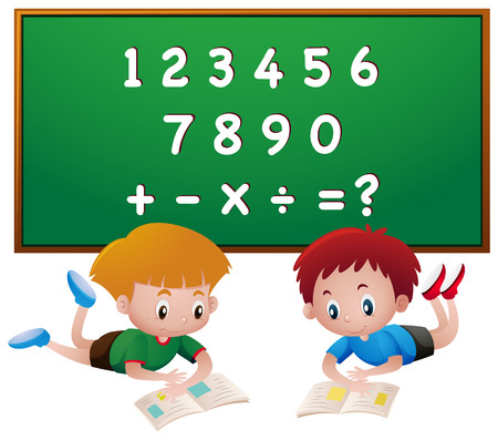 Two boys reading books with numbers illustration