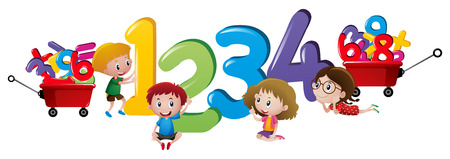 countable: Children counting numbers one to four illustration